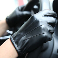 Warm Winter Men's Police Tactical 100% Real Leather Gloves Security Black/Brown