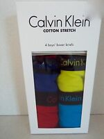 Calvin Klein Boy's 4 Pack Cotton Stretch Boxer Briefs M (8-10) New
