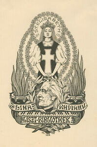 "Ex libris Art Deco Exlibris ""Homage F. List"" by WITTIG H. / Europe"