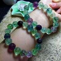 Natural Colorful Fluorite Genuine Gemstone Flower Shape Beads Bracelet 12mm AAAA