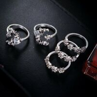 5Pcs Women Moon Star Crystal Stack Knuckle Rings Finger Tip Band Set Wedding Hot