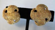 Vintage Signed TRIFARI TM GoldtoneTextured Clip-On Earrings
