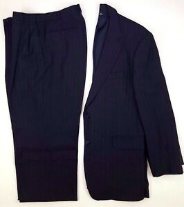 Brooks Brothers Suit 42R Blue Pinstriped Mens 2 Button Size Wool Blend 346 Navy