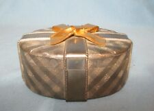 Vintage Silver with Golden Bow ~ Oval Jewelry or Trinket Covered Gift Box