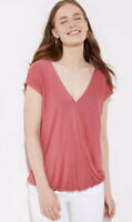 NWT Womens Ann Taylor LOFT Cap Sleeve Rose Faux Wrap Bar Back Top Sz XL