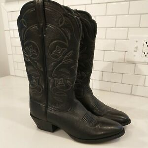Ariat Cowboy Boots Black Leather Western Womens Size 9C Heritage 15770