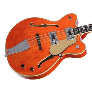 Eastwood Guitars Classic 4 Bass - Short Scale Semi-Hollow Body - Orange - NEW!