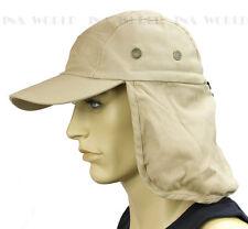 Sun Cap Ear Flap Neck Cover Sun Protection Baseball cap style- Khaki Beige