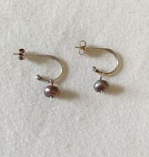Designer Sterling Silver 1/2 Hoop Earrings w/ Black Pearl Earring Pendants Post