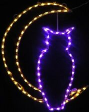 Happy Halloween Owl in Moon Fall Outdoor LED Lighted Decoration Steel Wireframe