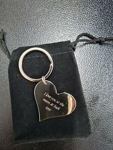 Personalised Love Heart Keyring Metal Chrome | Engraved Message | Gift Bag |