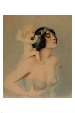 ZIEGFELD girl with angel POSTER 24X36 Reclining Nude ivory skin COLLECTORS
