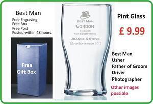 Personalised BEER Glass, Best Man, Wedding, Gift