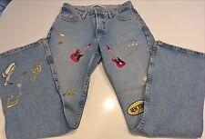 "Tommy Hilfiger Rockin Jeans Size 4, 29""X30"" Unique,Guitars, Cities, Notes, Music"