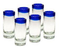 (6 Pack) Mexican Hand Blown Glass Blue Ring Shots Tequila - Original Artisan