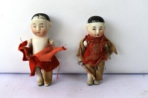 """Antique China Head Japan Bisque Doll Porcelain Wire Jointed With Cloth Dress""""F14"""