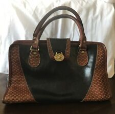 Brahmin Womens Hand Bag Black and Brown Leather G1