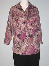KAREN SCOTT Petites Size M Purple Roll Up Sleeve Paisley Button-Down Blouse