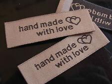 50 Stück LABEL ETIKETTEN SCHILD ♥ HANDMADE with love ♥ 5 cm zum Einnähen