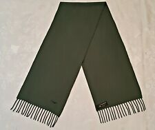 FRANCE VINTAGE AUTHENTIC SOLID GREEN LOGO LAMBSWOOL LONG MEN'S FRINGE SCARF