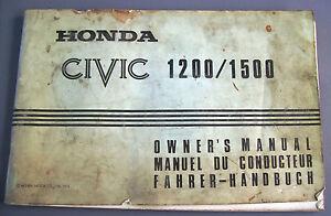 HONDA CIVIC 1200/1500  LIBRETTO USO E MANUTENZIONE ORIGINALE OWNER'S MANUAL
