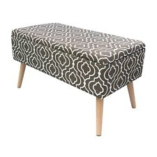 30 inch Mid Century Upholstered Ottoman Bench for Entryway and Bedroom, Brown