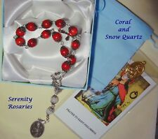 Saint St Philomena Chaplet Handcrafted in Coral and Snow Quartz - Gift boxed