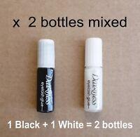 Latex-Free Strong BLACK WHITE False Eyelash GLUE 1ml x 2 Bottles - UK Seller