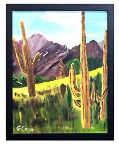 Acrylic Landscape Saguaro Cactus Canvas Painting Black Wood Frame Free Shipping