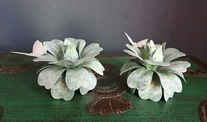 GREEN LEAF LOTUS FLOWER STYLE CANDLE HOLDERS PINK BUTTERFLY ROMANTIC FRENCH