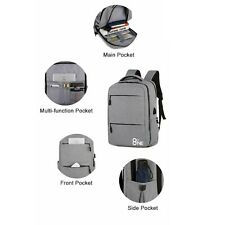 Anti Theft Backpack with USB Charging for 15.6 Inch Laptops - Black/Grey