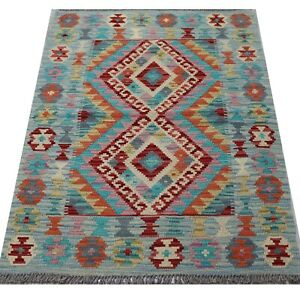 Real Afghan Tribal Multi colour Handmade Chobi Wool Kilim Area Rug 83x120 cm