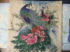 GLORIOUS PAIR OF PEACOCKS~PALM TREE~zipper cushion/pillow cover~OR make purse
