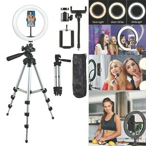 "10"" LED Selfie Ring Light with Tripod Phone Holder Stand For Makeup Live Stream"