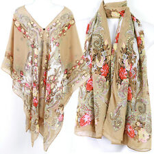 Vintage Floral Kaftan Caftan Tunic Dress Wing Blouses Scarf Beach Cover Up ts35b