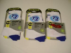 Lot 3 DeFeet Air-E-Ator Cool Max White Sport Cycling/Running Socks Sz: S USA