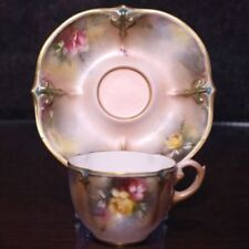 Coffee Cup & Saucer Antique Original Royal Worcester Porcelain & China
