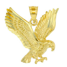 Solid 14K Yellow Gold Textured Eagle Charm Animal Pendant