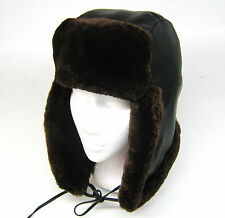 new men luxury REAL fur- GENUINE Nappa leather trapper hat aviator ushanka L