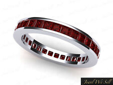 1.20Ct Princess Ruby Channel Set Eternity Wedding Band Ring 14K White Gold AAA