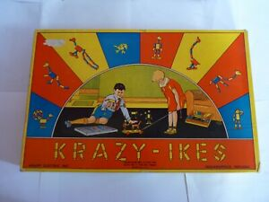 Vintage Boxed ' Krazy - Ikes ' Wooden Toy Constructor Set by Knapp 1930