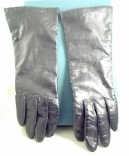 Vintage Wt Black Ladies 10.5 Inch Length Soft Lined Leather Gloves Made In Italy