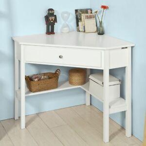 SoBuy® Ecktisch,Schreibtisch,Computertisch,Arbeitstisch mit Ablage,weiß,FWT31-W