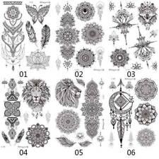 Black Temporary Tattoo Women Mandala Rose Fake Tatoo Henna Body Removable jubxin