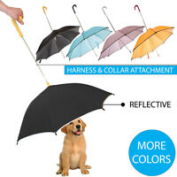 Pour-Protection Pet Dog Rain Umbrella With Reflective Lining and Leash Holder