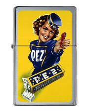 Retro Classic Pez Girl Poster Flip Top Lighter Brushed Chrome with Vinyl Image.