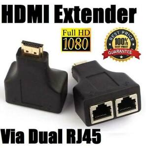 1Pair 1080P HD 4K 3D HDMI to Dual RJ45 Over Cat 5e/6 Network Ethernet Adapter UK