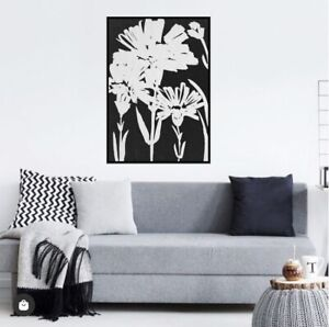 Canvas Print Framed 30% Oil Daisies Black and White