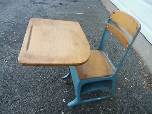 Vintage Cast Iron & Solid Oak Child's School Desk Table Chair With Caster Wheels