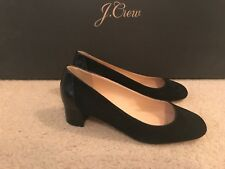 J.CREW SUEDE PUMPS WITH STAMPED CROC HEEL SIZE 7,5M BLACK G8170
